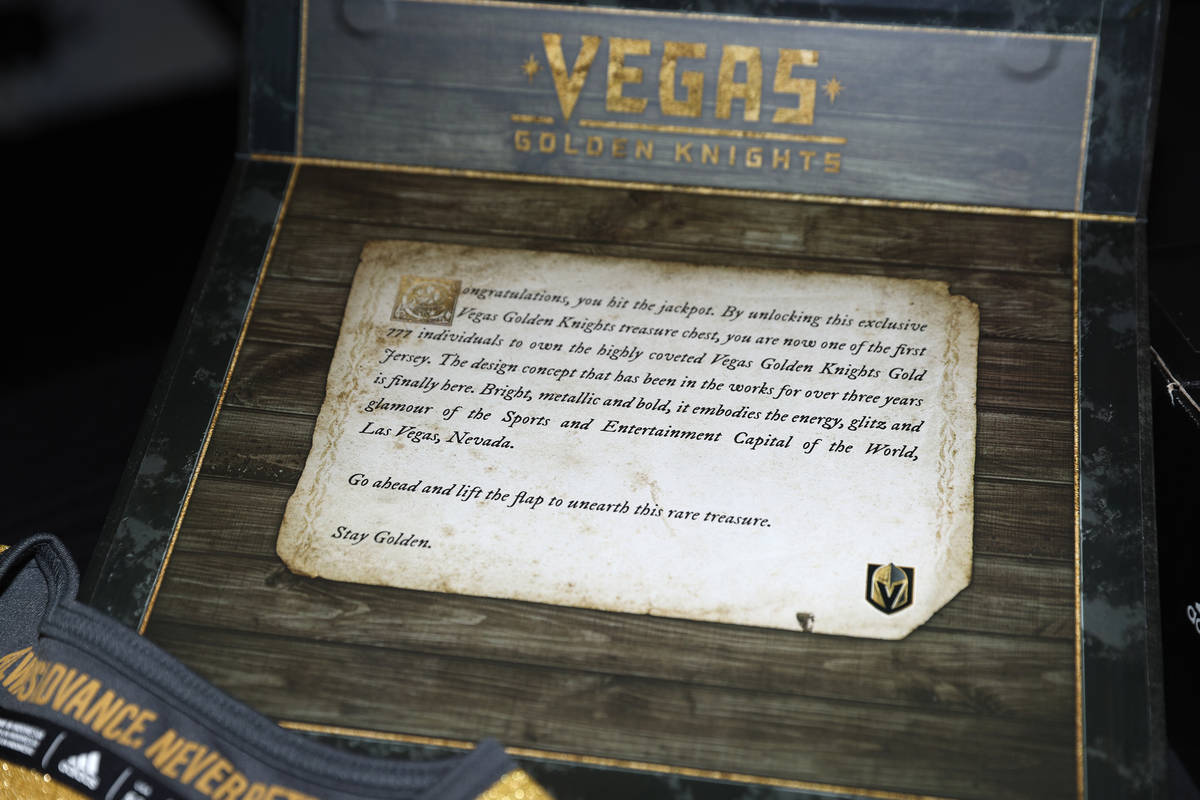 A message inside of a Vegas Golden Knights Adidas treasure chest which includes the team's thir ...