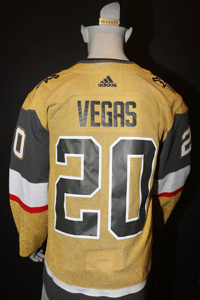 The Vegas Golden Knights third jersey is displayed at City National Arena in Las Vegas, Friday, ...