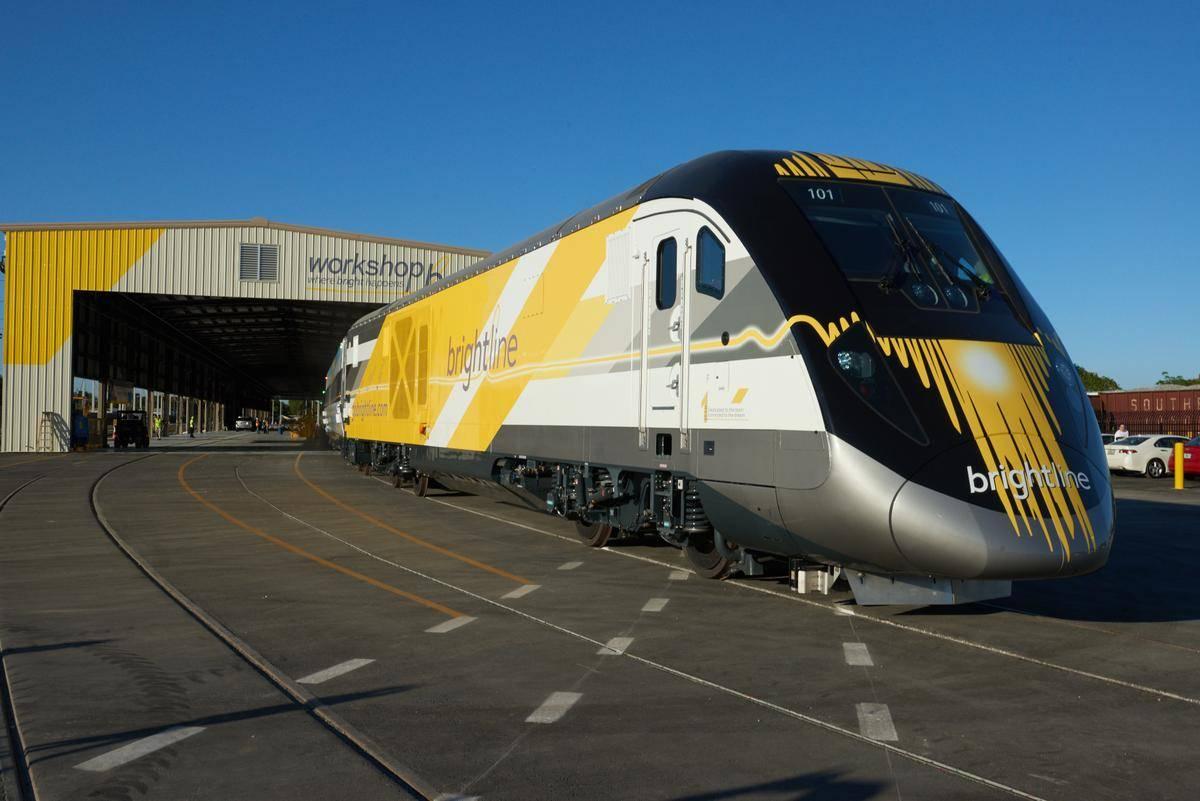 An exterior shot of a Brightline high-speed rail line. (Brightline)