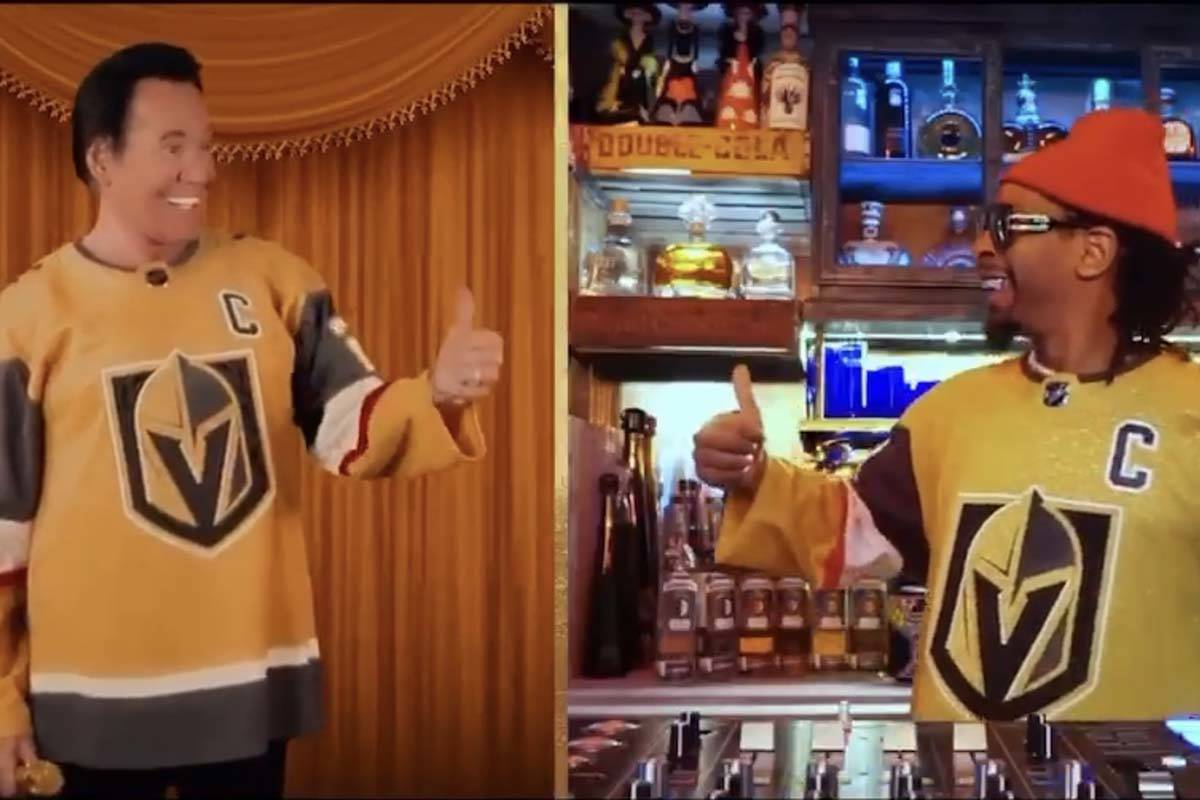 Wayne Newton, left and rapper Lil Jon don the latest gold jerseys for the Vegas Golden Knights. ...