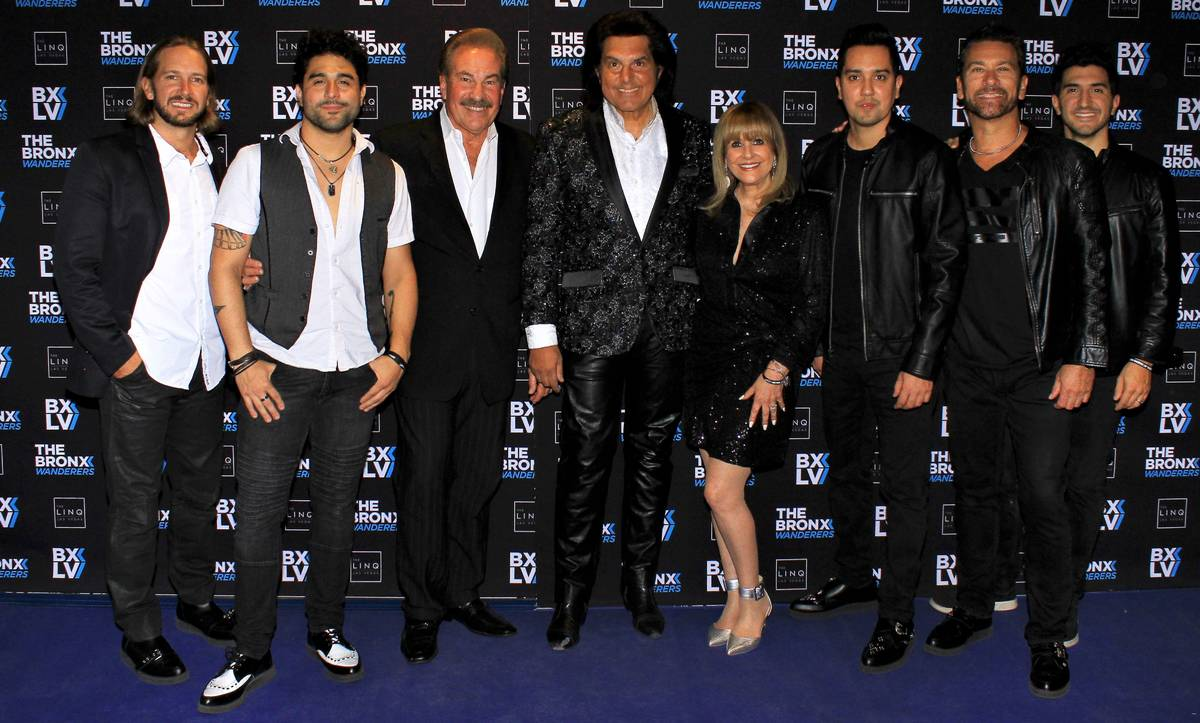 The Bronx Wanderers are shown with producers Alan and Kathi Glist during their 1,000th career s ...