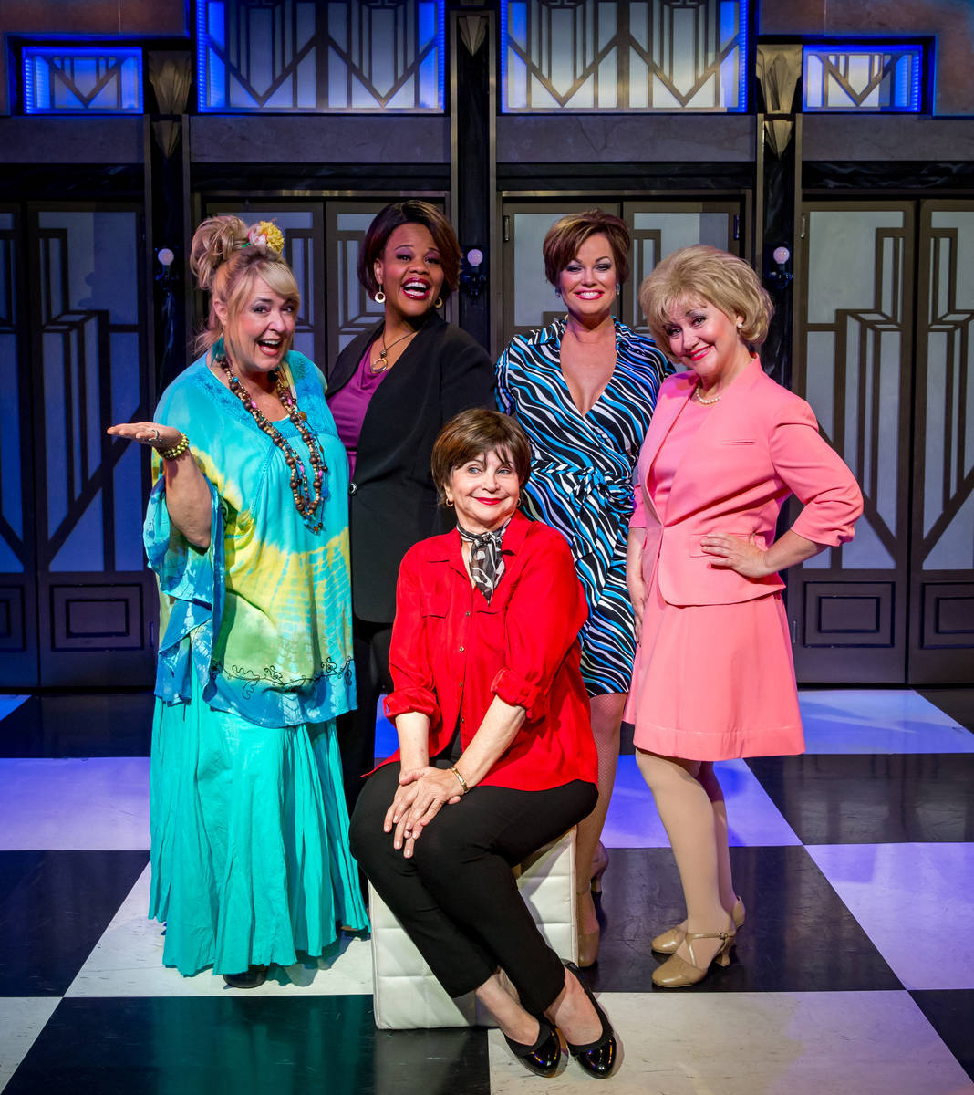 """Cindy Willliams, seated, with """"Menopause the Musical"""" cast."""