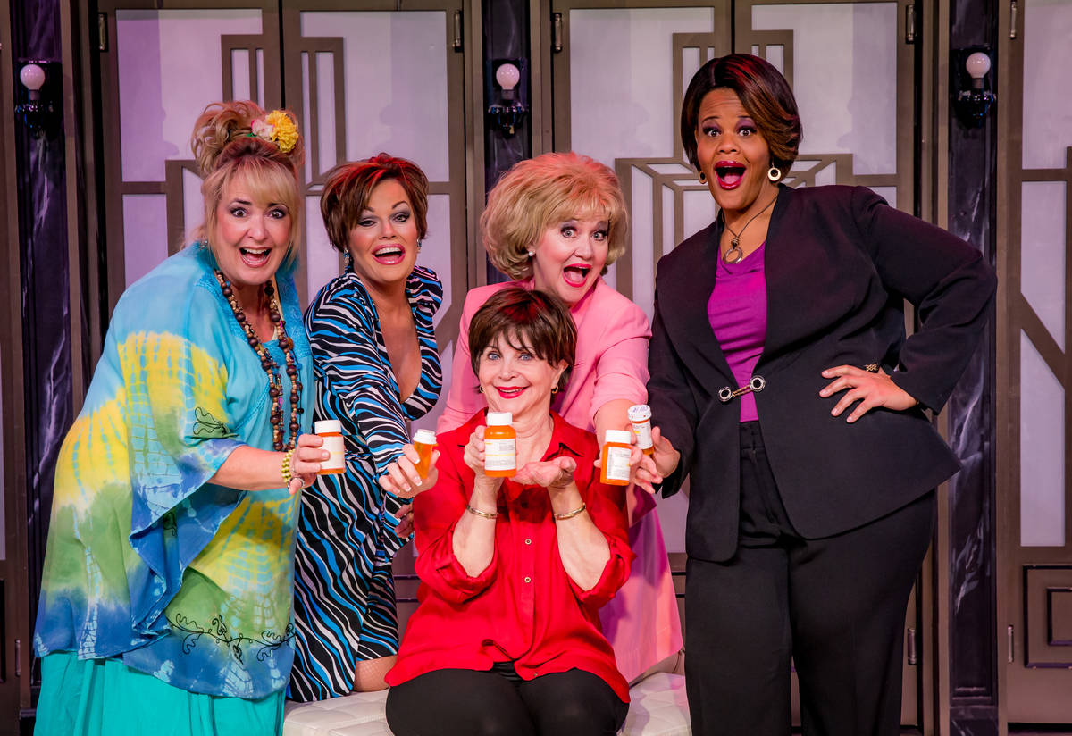 """Cindy Williams, in red, and the cast of """"Menopause the Musical"""" at Harrah's in Las Vegas. (Erik ..."""