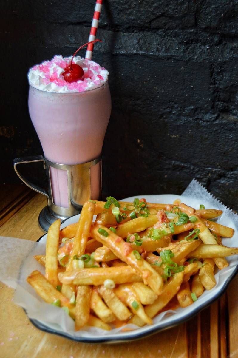 Mean Girls Classic Bubble Gum Shake and cheese fries at Black Tap. (Black Tap Craft Burgers & F ...