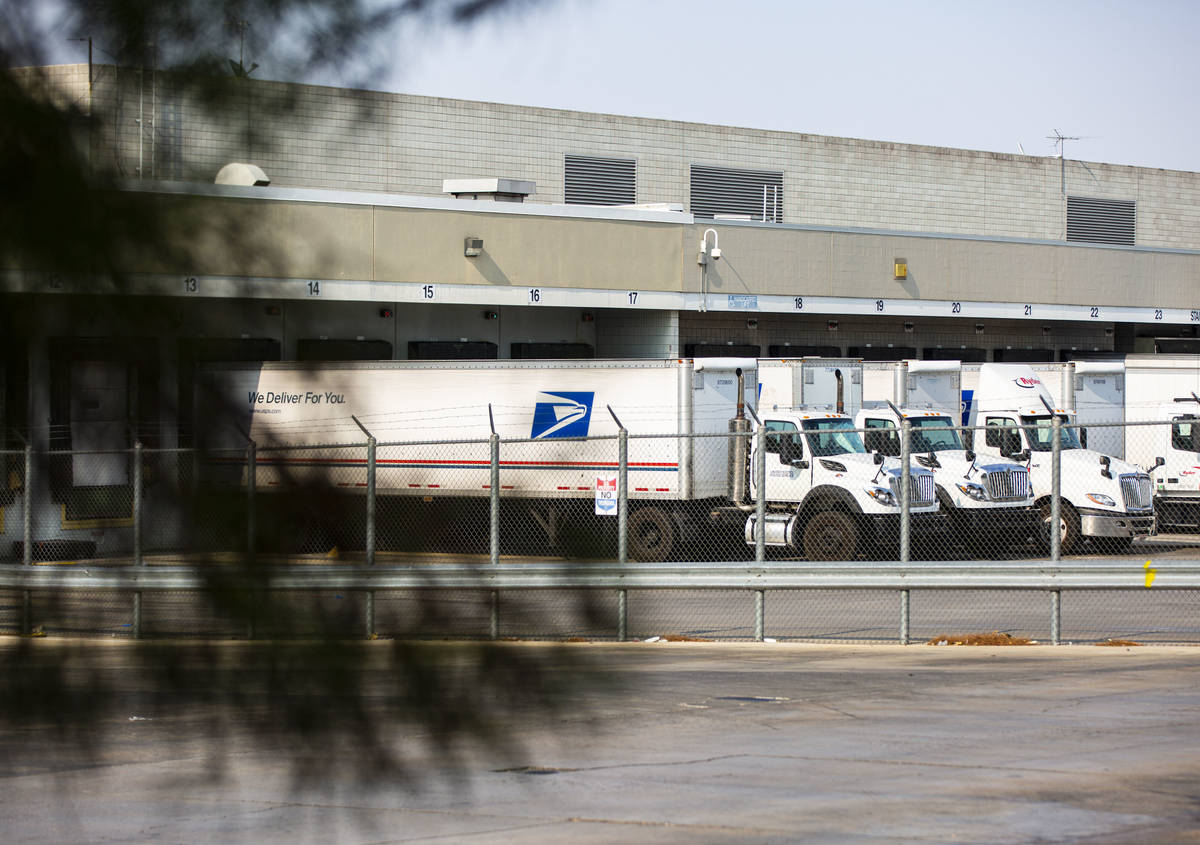 Trucks at the U.S. Postal Service center at 1001 E. Sunset Road in Las Vegas on Thursday, Aug. ...