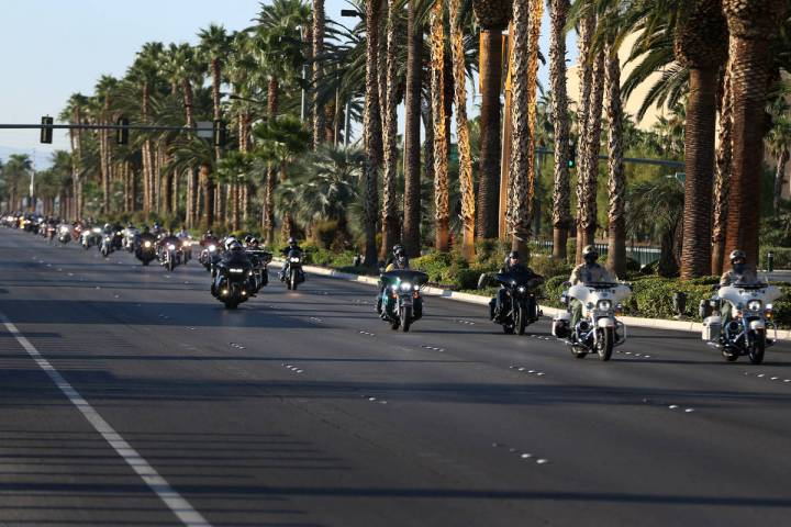 Motorcyclists participate in the Country Strong Foundation Route 91 Memorial Ride on the Strip ...