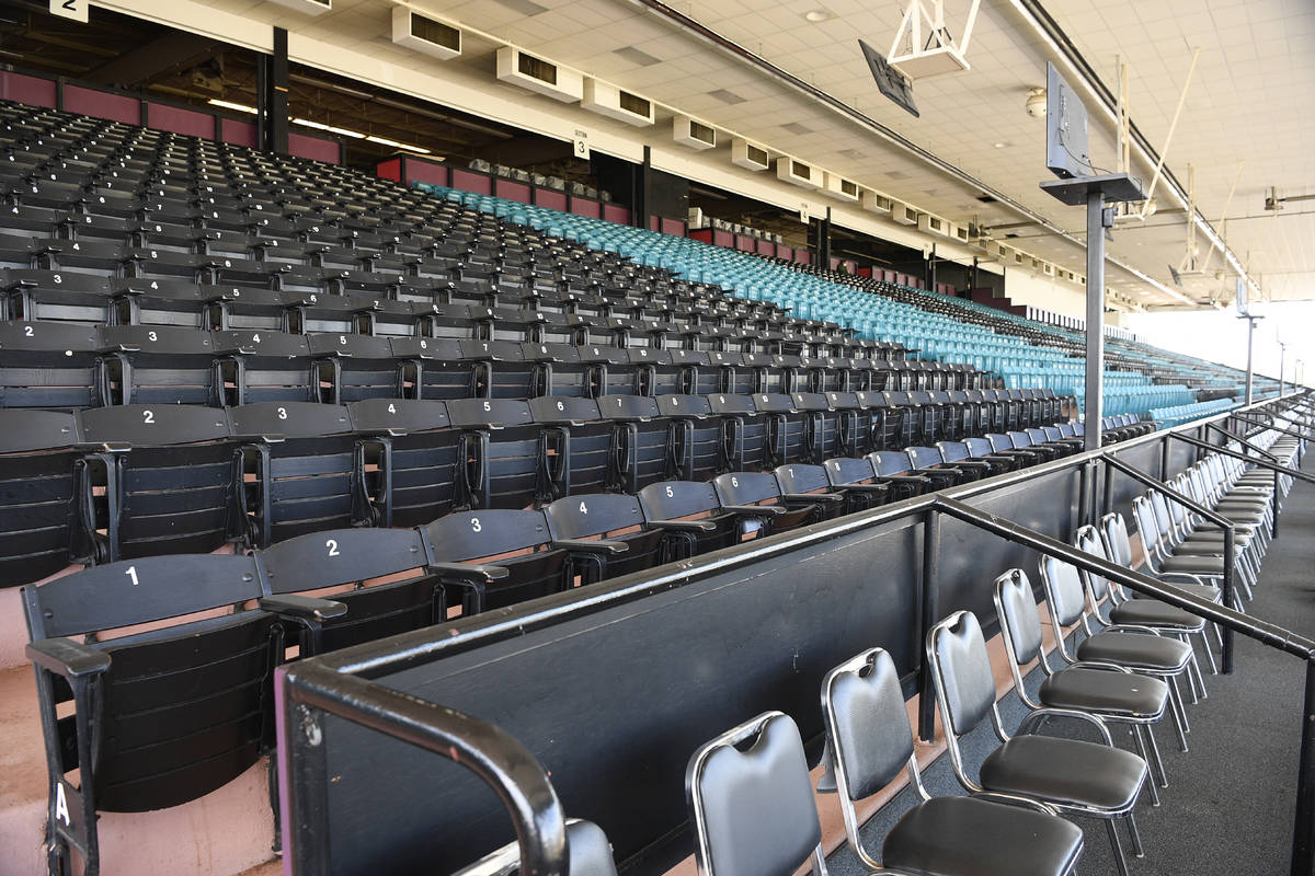 Empty seats are seen ahead of the 145th Preakness horse race, Saturday, Oct. 3, 2020, in Baltim ...