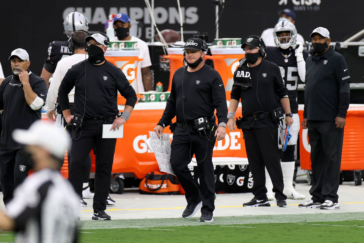 Las Vegas Raiders head coach Jon Gruden watches the game with his face mask down in the second ...