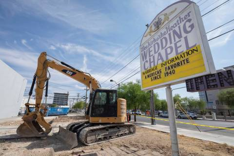 The Wee Kirk Wedding Chapel is seen demolished, in downtown Las Vegas on Monday, Oct. 5, 2020. ...