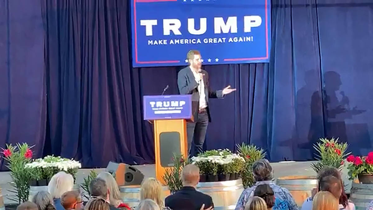 An event at the Pahrump Valley Winery on Sept. 24, 2020, featured President Donald Trump's son ...