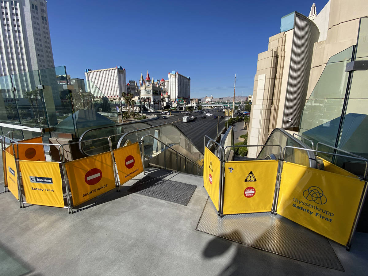 Escalators are closed for the pedestrian bridge between MGM Grand and Tropicana Las Vegas on th ...