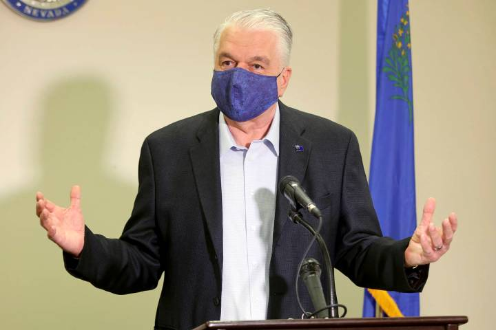 Nevada Gov. Steve Sisolak updates the state's COVID-19 response efforts and lifting of restrict ...