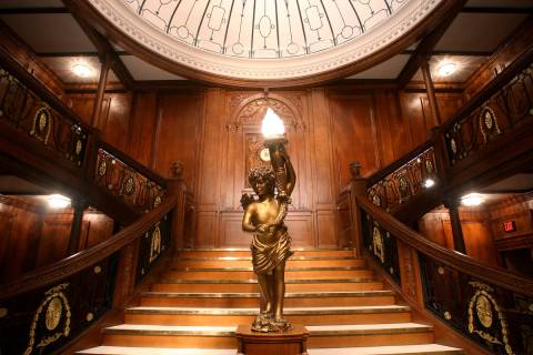 "The Titanic's Grand Staircase is shown at ""Titanic: The Artifact Exhibition"" at Luxor. (Premier ..."