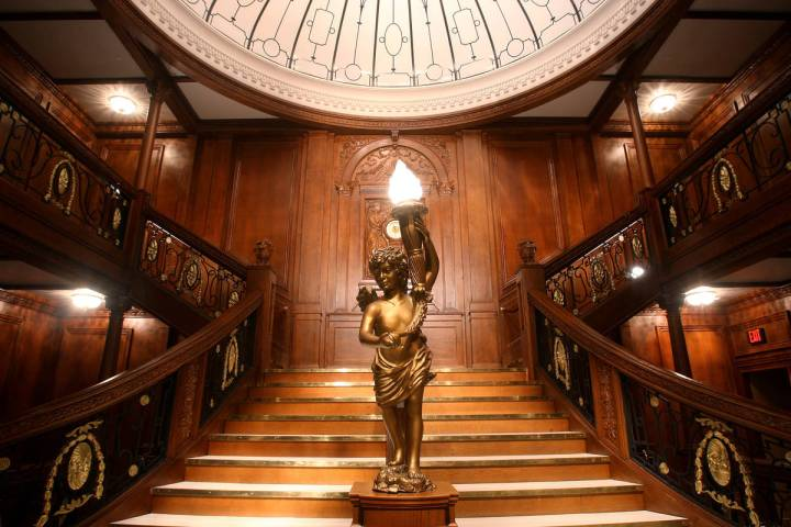 """The Titanic's Grand Staircase is shown at """"Titanic: The Artifact Exhibition"""" at Luxor. (Premier ..."""