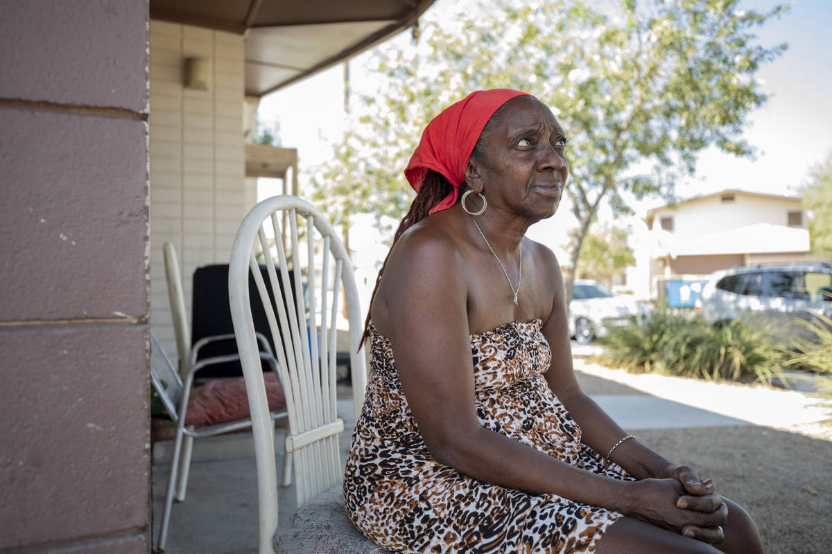 Shellie Ratliff, 64, sits on her porch on Oct, 6, 2020, where she witnessed the scene an invest ...