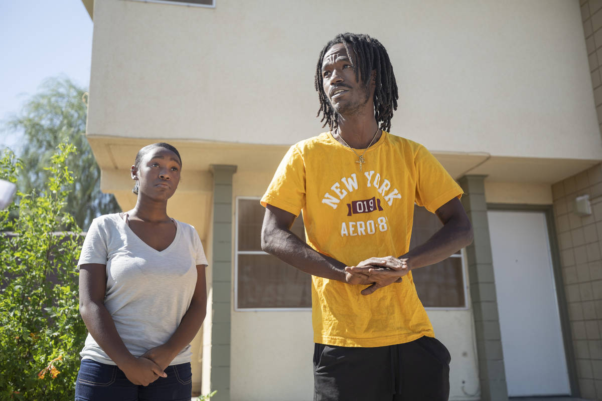 Alaijzha Shields, 14, left, and Darius Jones, 26, outside of their home on Oct, 6, 2020, give t ...