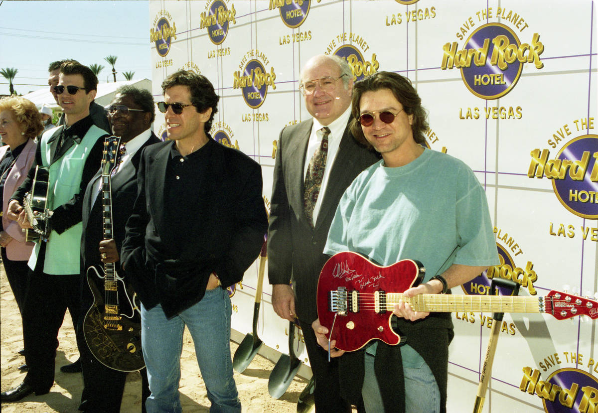 Eddie Van Halen, far right, attends a groundbreaking ceremony for the Hard Rock Hotel & Casino ...