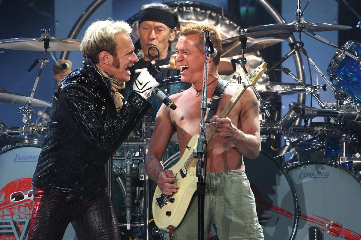 Members of Van Halen, from left, David Lee Roth, Alex Van Halen and Eddie Van Halen perform dur ...