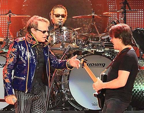 Lead singer David Lee Roth, drummer Alex Van Halen and guitarist Eddie Van Halen, from the left ...