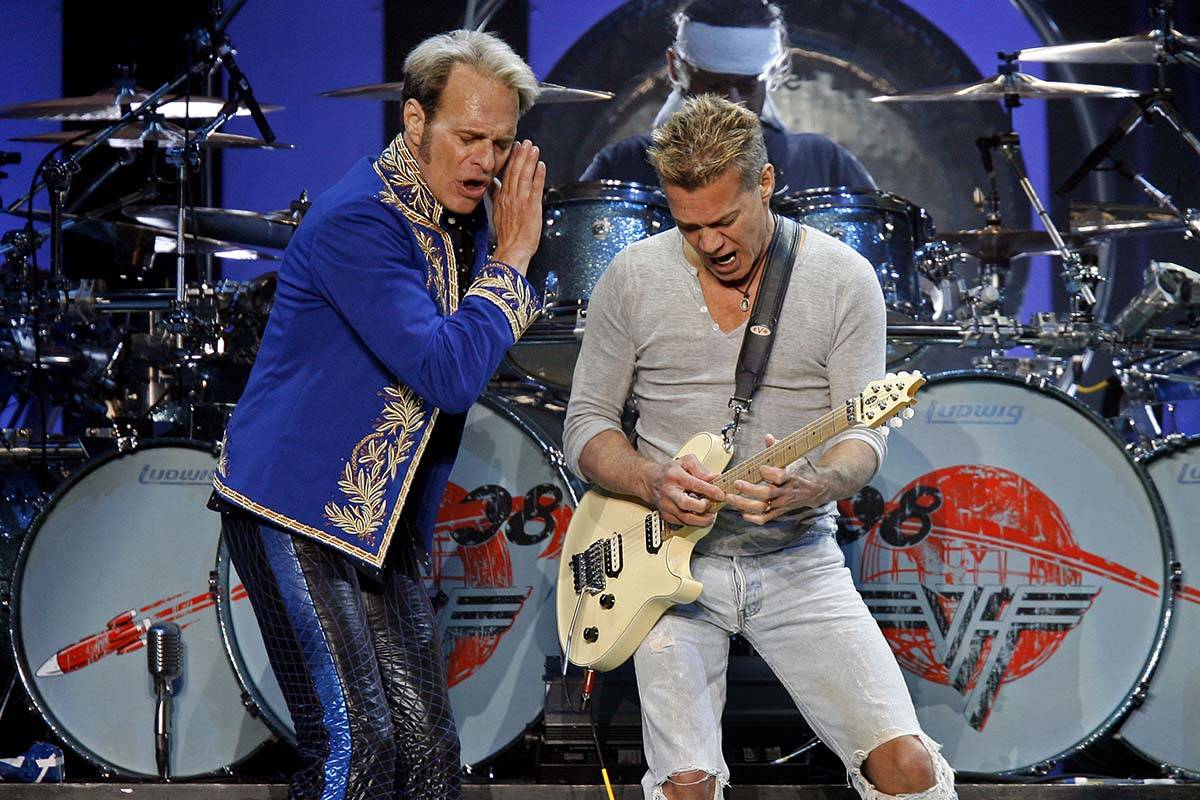 David Lee Roth, left, and Eddie Van Halen perform at Madison Square Garden Friday, May 23, 2008 ...