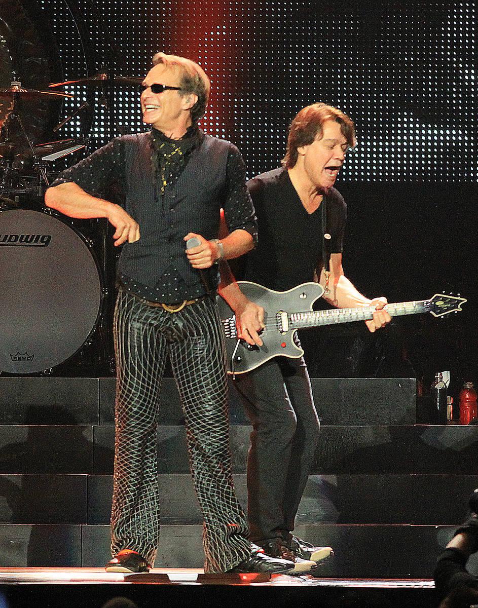 Lead singer David Lee Roth, and guitarist Eddie Van Halen, from the left, of the group Van Hale ...