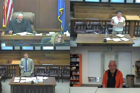 A screenshot of a virtual competency hearing in White Pine County District Court on Tuesday, Oc ...