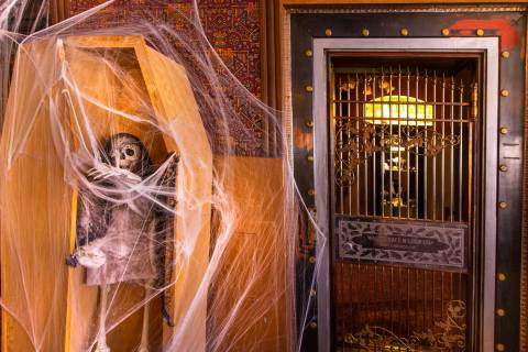 Halloween decorations about in the sitting room at the Mizpah Hotel in Tonopah, Nevada, on Wedn ...