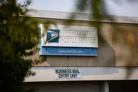 A sign outside of the U.S. Postal Service center at 1001 E. Sunset Road in Las Vegas on Thursda ...