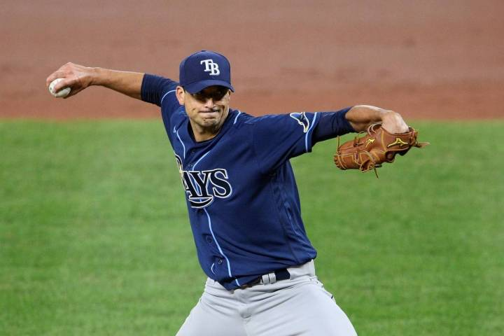 Tampa Bay Rays starting pitcher Charlie Morton delivers a pitch during a baseball game against ...