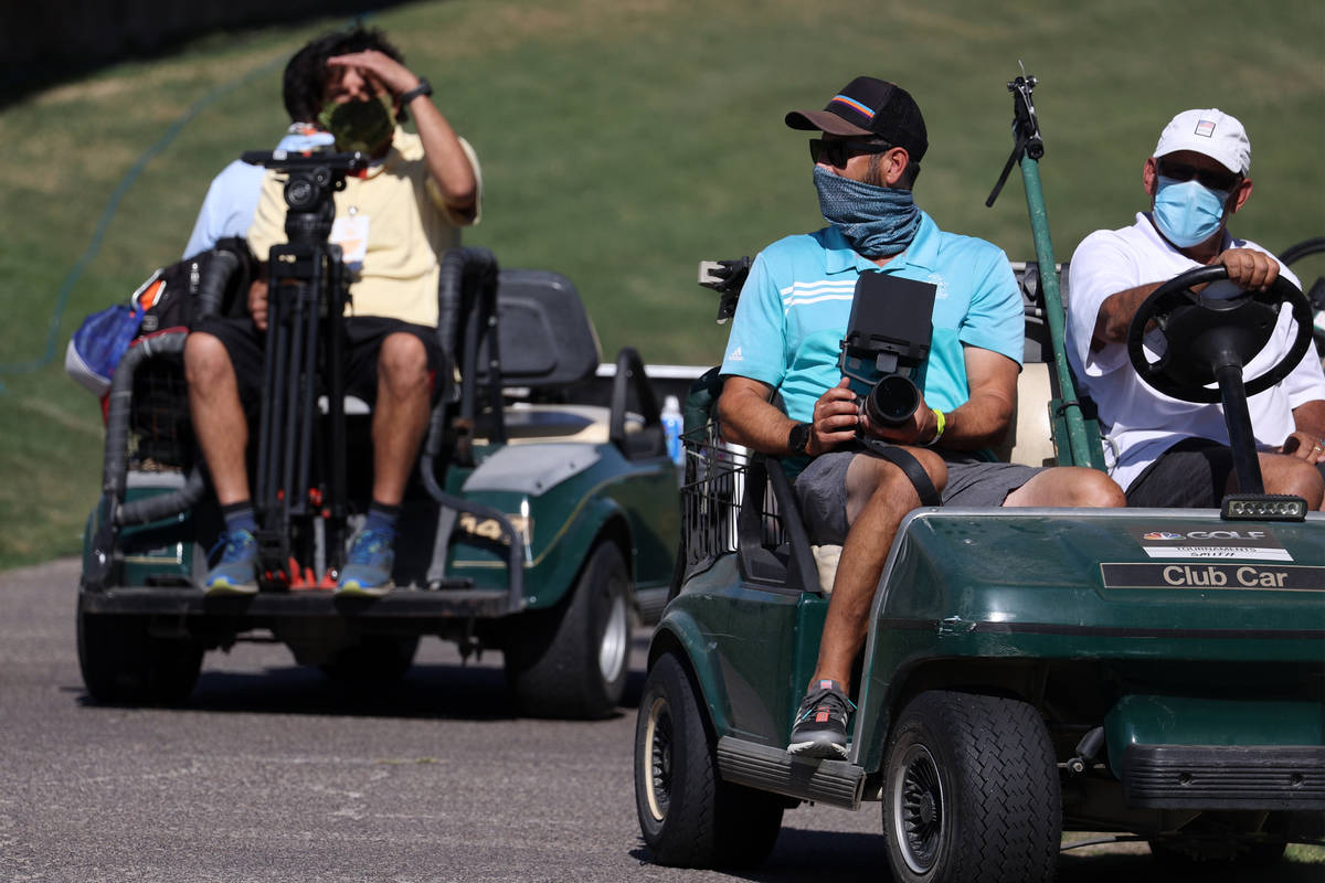 People drive gold carts during the Pro-Am event in the 2020 Shriners Hospitals for Children Ope ...