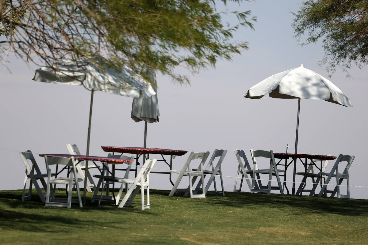 Empty chairs along the eight hole during the Pro-Am event in the 2020 Shriners Hospitals for Ch ...