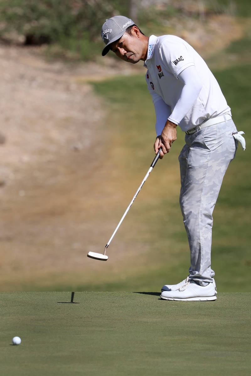 Kevin Na putts at the sixth hole during the Pro-Am event in the 2020 Shriners Hospitals for Chi ...