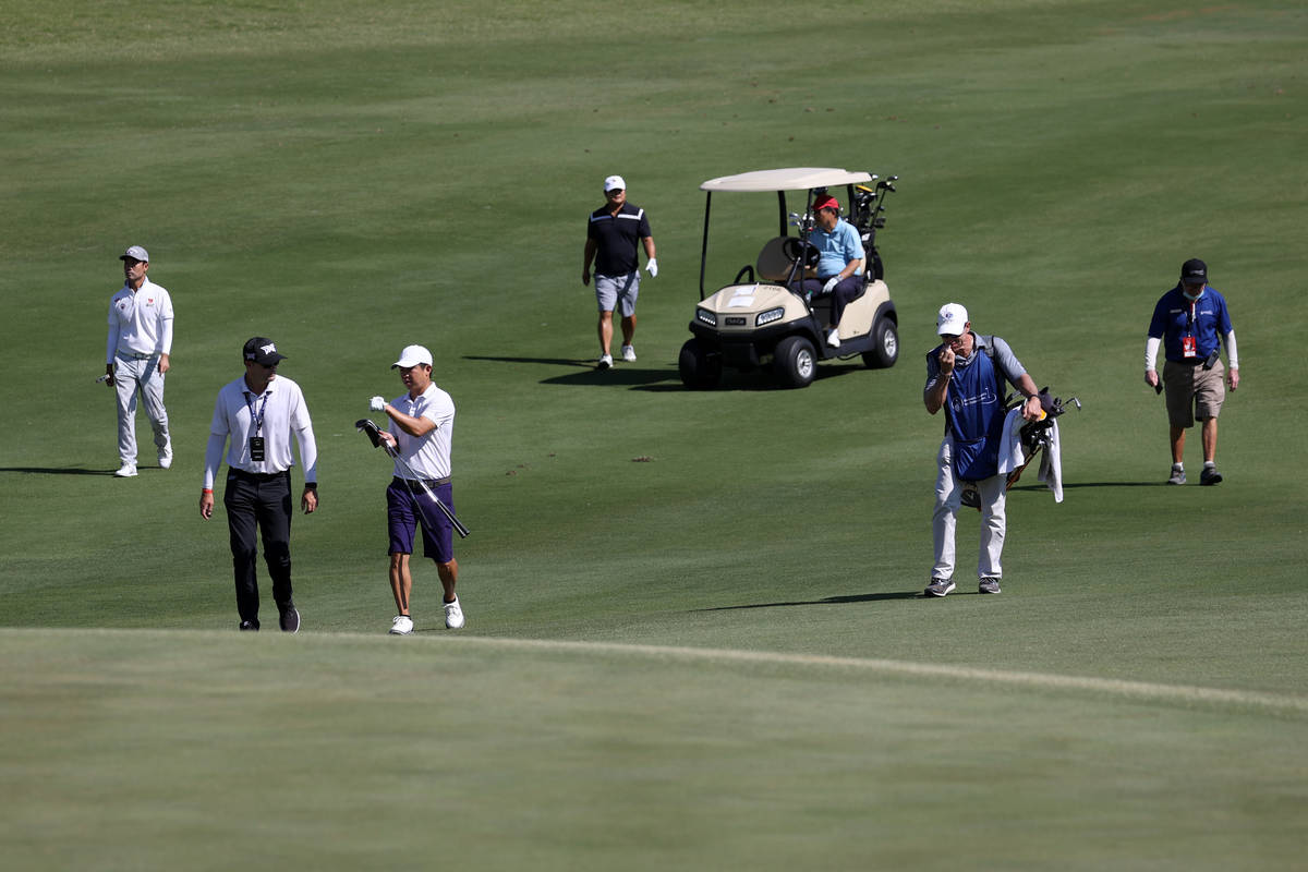 Kevin Na, far left, participates during the Pro-Am event in the 2020 Shriners Hospitals for Chi ...