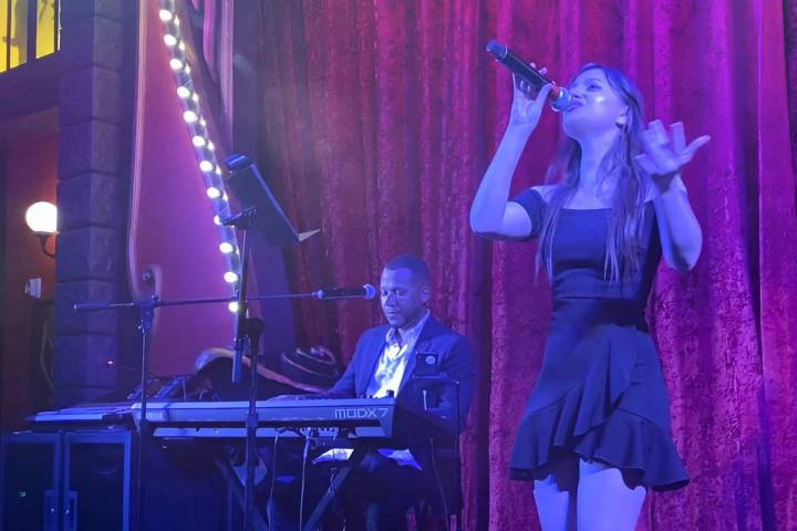 Angelina Alexon and Marcel Easts perform at Le Cabaret Bar at Paris Las Vegas on Saturday, Oct. ...