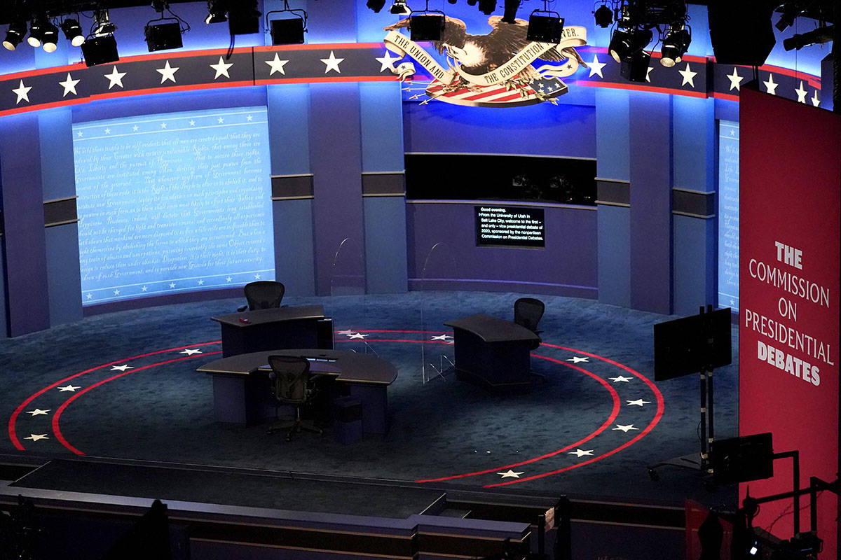 The stage is set with glass between seats ahead of the vice presidential debate at the Universi ...