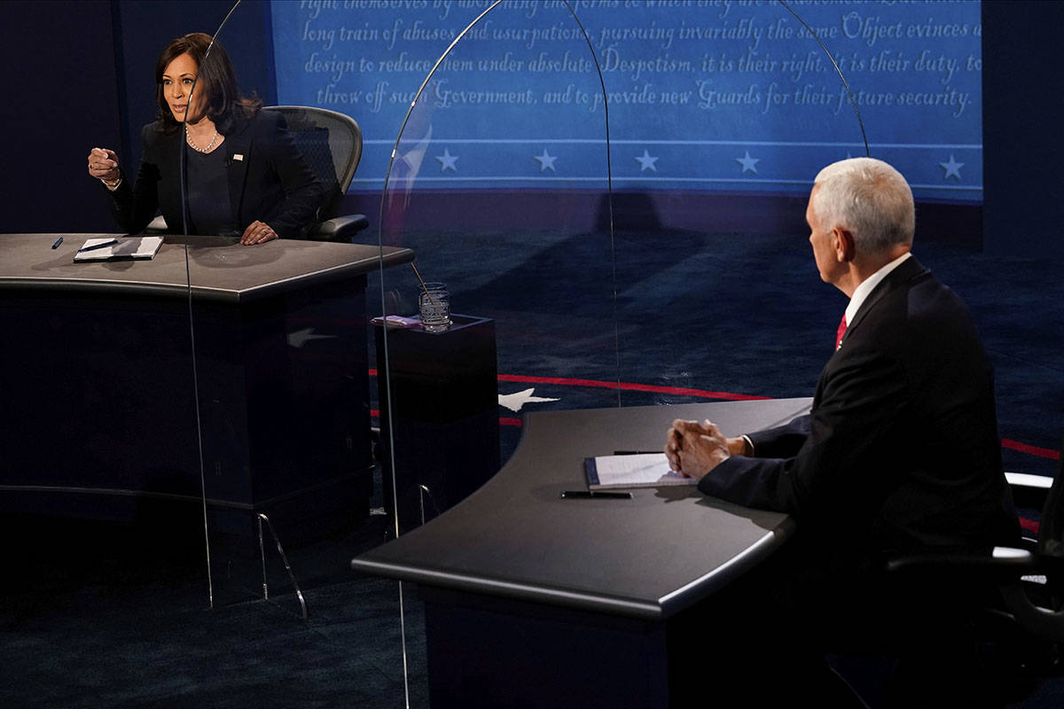 Democratic vice presidential candidate Sen. Kamala Harris, D-Calif., answers a question as Vice ...