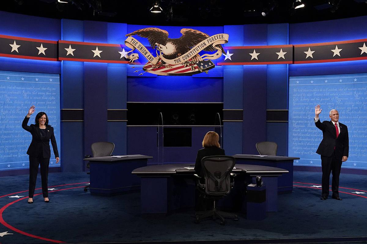 Democratic vice presidential candidate Sen. Kamala Harris, D-Calif., and Vice President Mike Pe ...