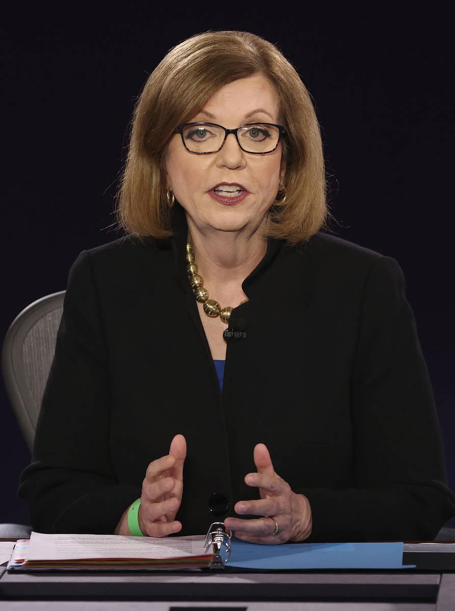 Moderator USA Today Washington Bureau Chief Susan Page speaks before the vice presidential deba ...