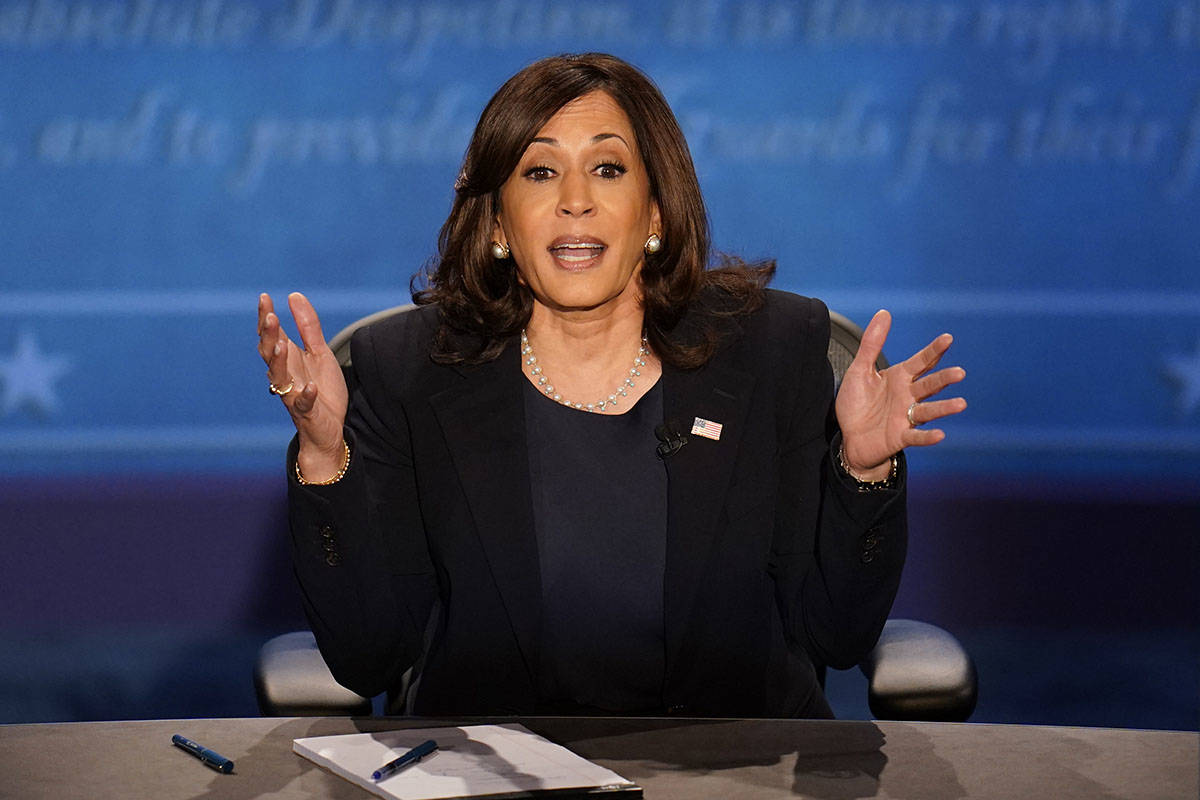 Democratic vice presidential candidate Sen. Kamala Harris, D-Calif., responds to a question dur ...