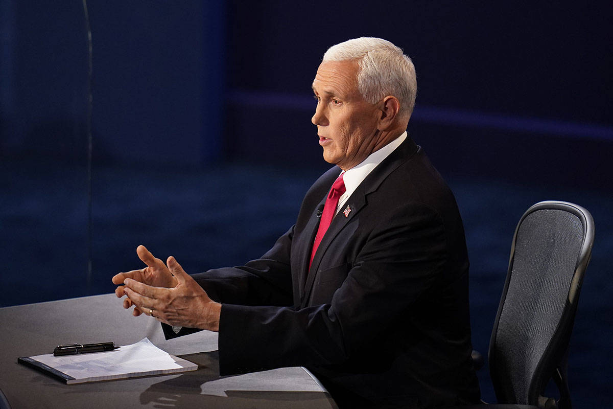 Vice President Mike Pence responds during the vice presidential debate with Democratic vice pre ...