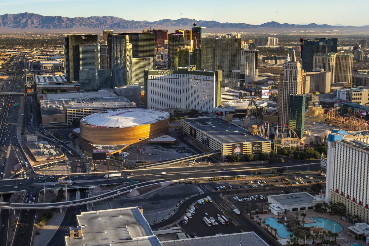 The T-Mobile Arena and New York-New York with other Las Vegas Strip area properties during an a ...