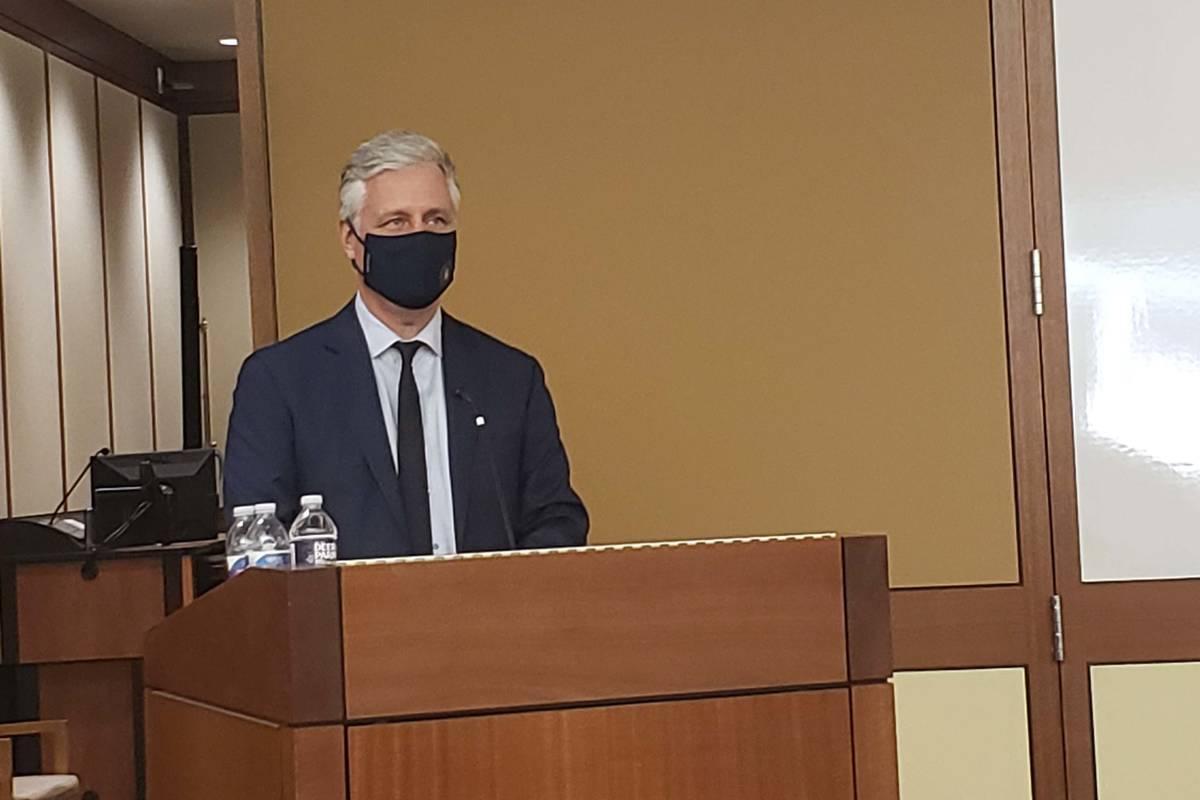 U.S. National Security Adviser Robert C. O'Brien speaks at the UNLV Boyd School of Law on Oct. ...