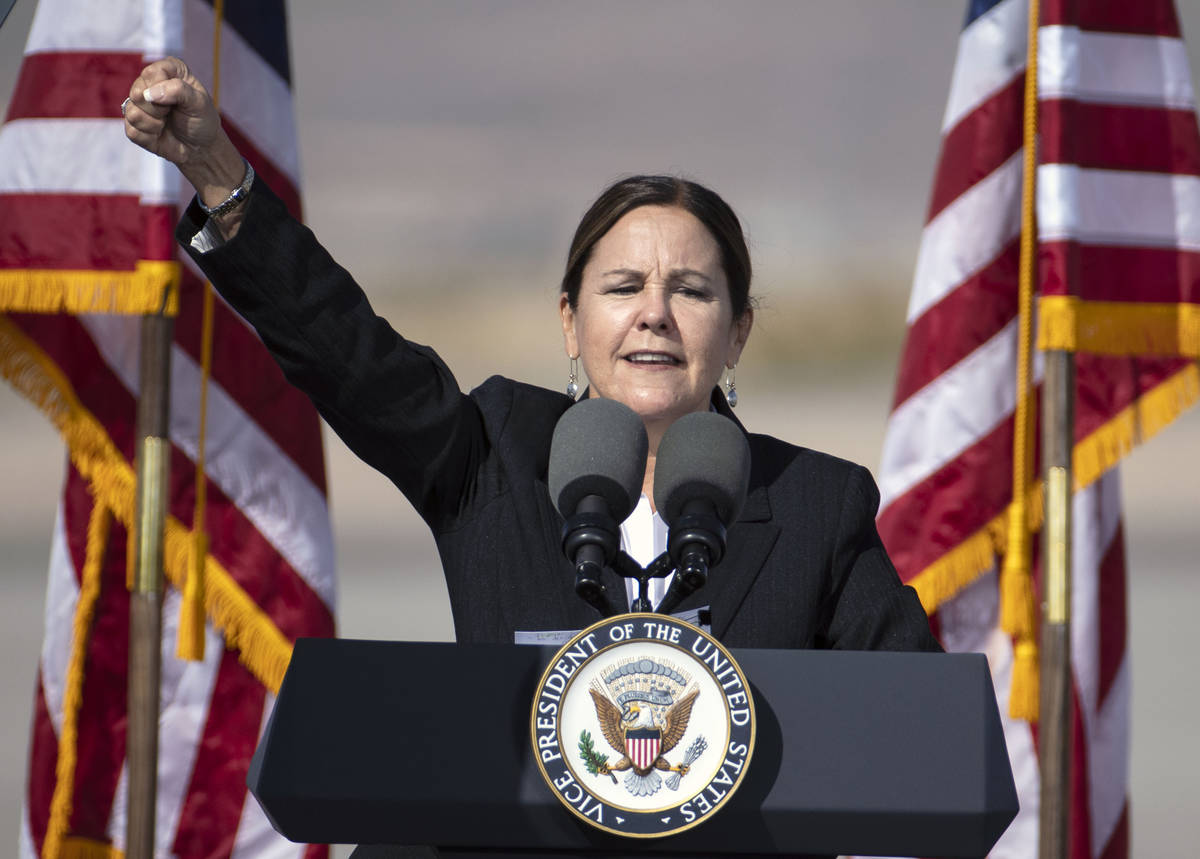 Vice President Mike Pence's wife Karen speaks during Make America Great Again event at Boulder ...