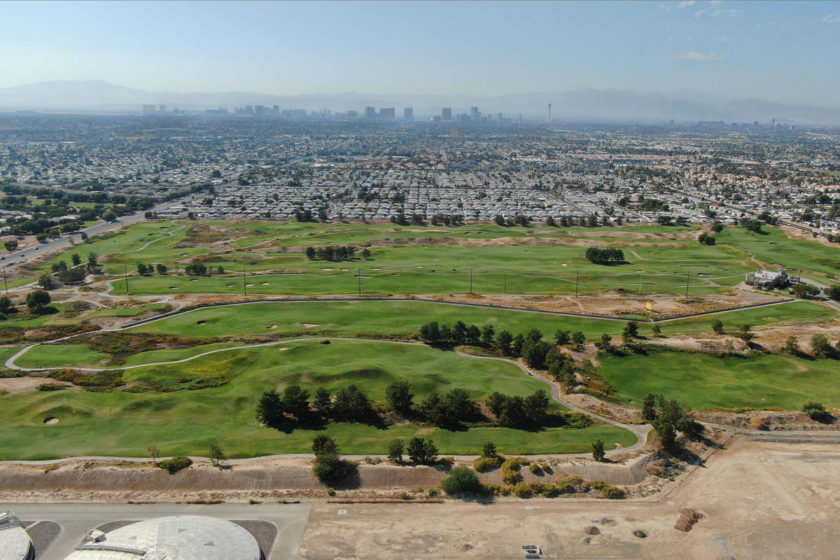 An aerial view of Royal Links Golf Club between East Desert Inn Road and East Vegas Valley Driv ...