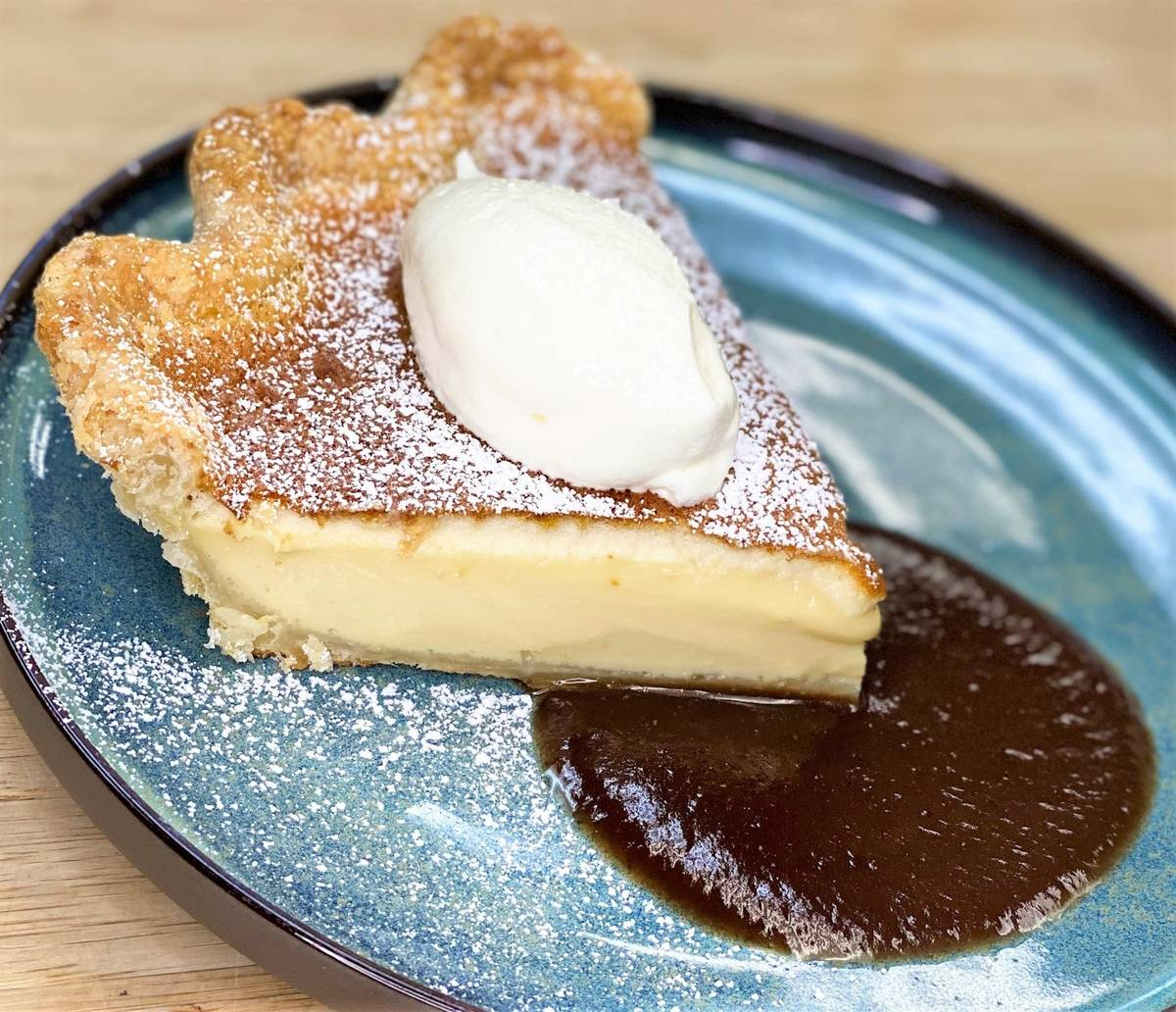 The Pop 'n Pies egg custard pie is available at Sparrow & Wolf. (Sparrow & Wolf)