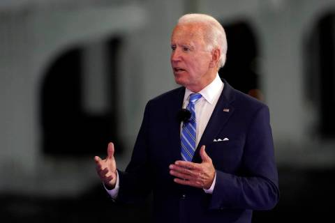 Democratic presidential candidate former Vice President Joe Biden speaks at a NBC Town Hall at ...