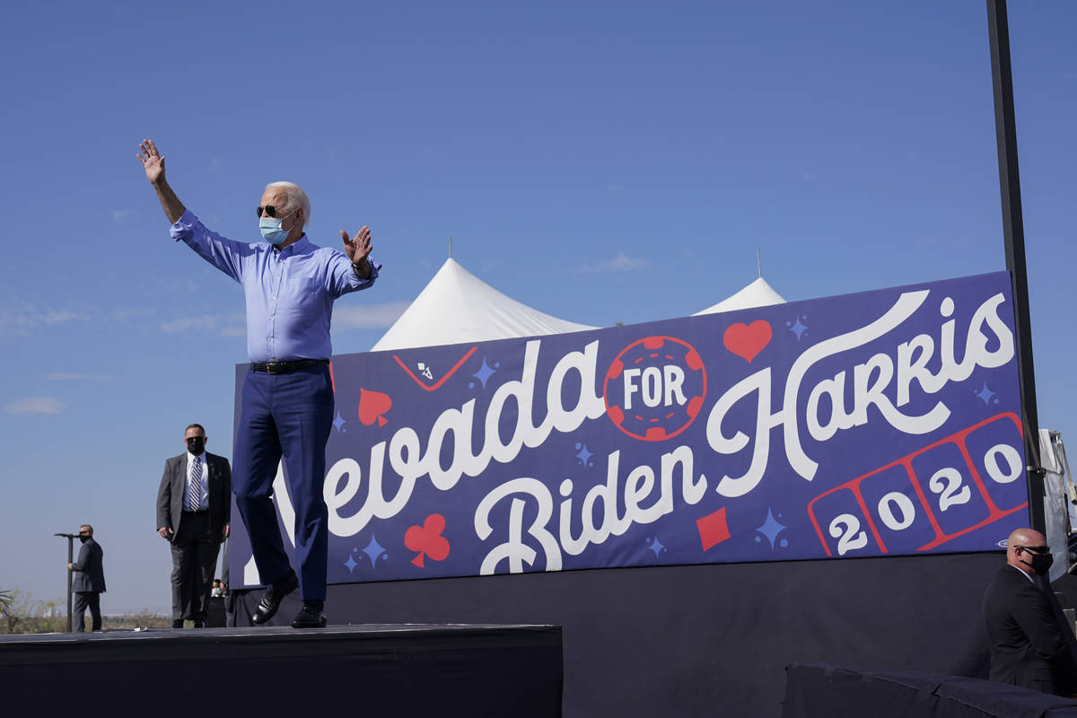 Democratic presidential candidate former Vice President Joe Biden arrives to speak at a Las Veg ...
