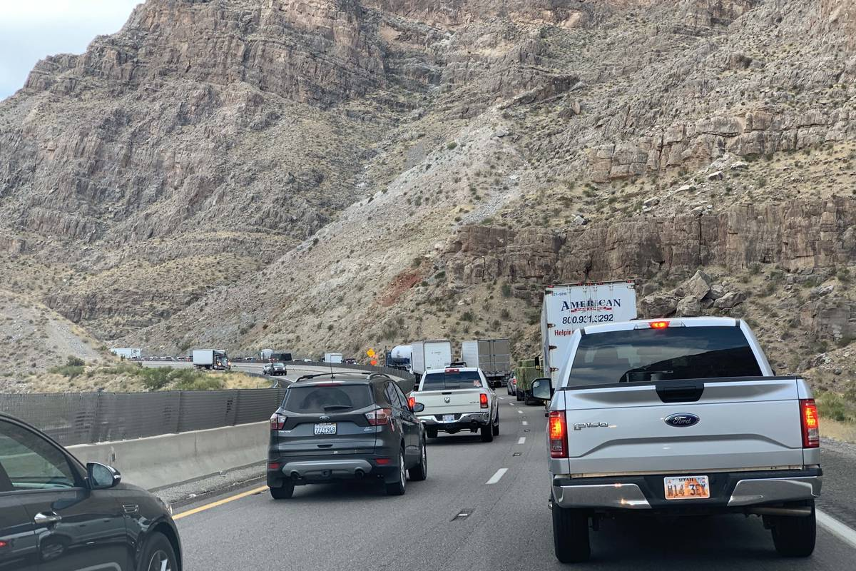 Traffic backs up on southbound Interstate 15 in the Virgin River Gorge between Mesquite and St. ...