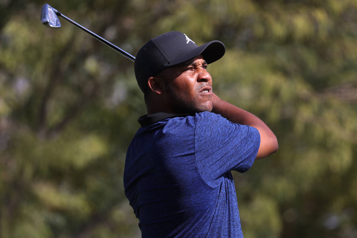 Harold Varner III tees off at the fifth hole during round two of the 2020 Shriners Hospitals fo ...