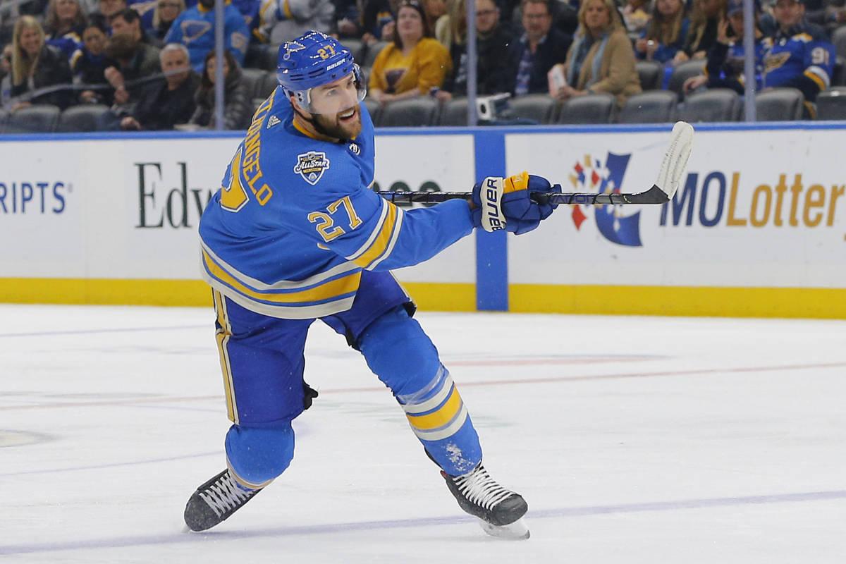 St. Louis Blues' Alex Pietrangelo follows through on a shot during the second period of an NHL ...
